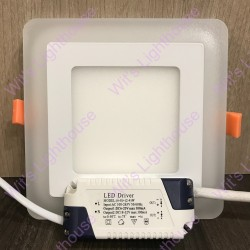 LED Downlight - 16W, Square, Recessed, Daylight + Side Light